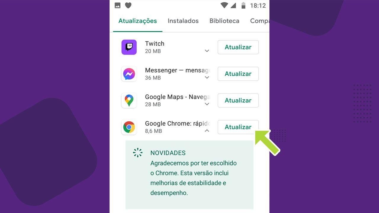 Na lista de aplicativos com atualizações, localize o Google Chrome e atualize-o (Reprodução: Redação Zoom)
