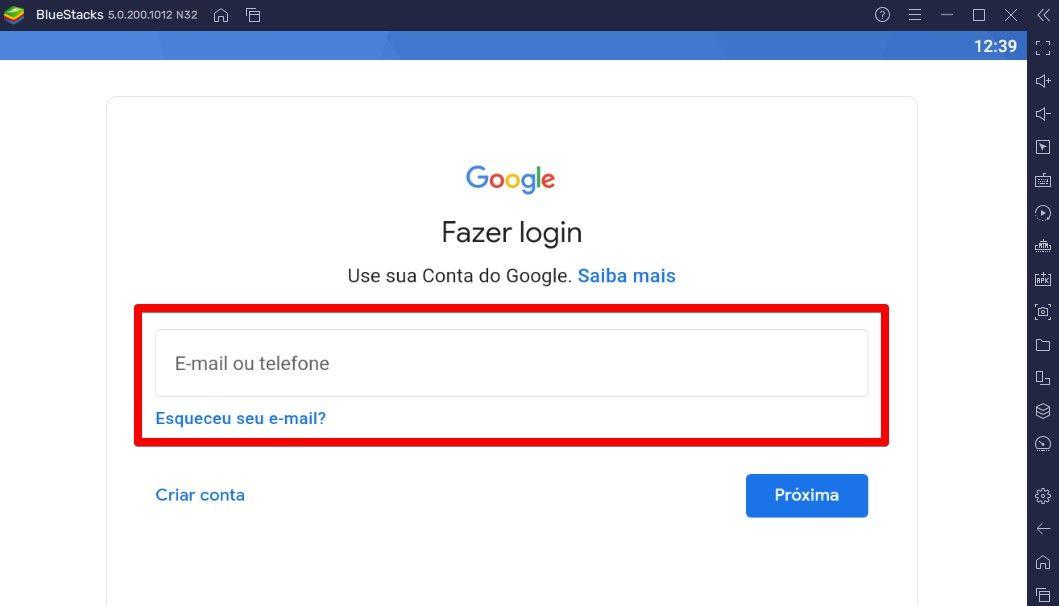 De preferência, faça login na mesma conta Google que está no seu celular (Fonte: Reprodução/Bluestacks)