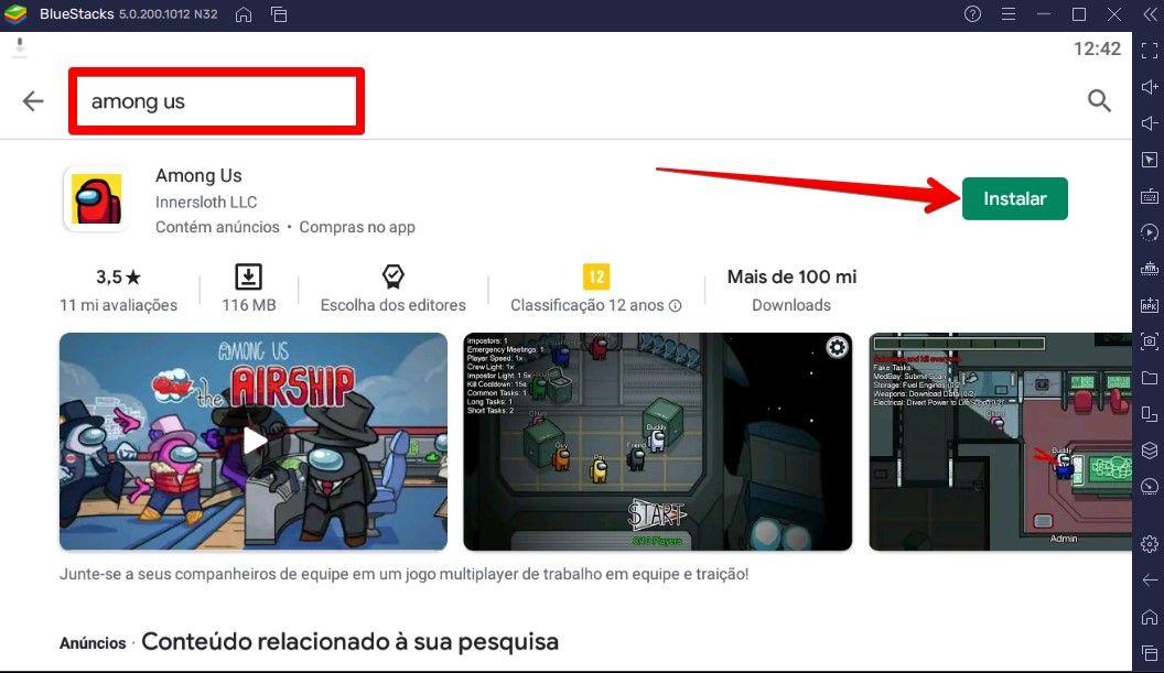 Você tem como instalar Among Us no PC direto pela busca na Play Store (Foto: Reprodução/BlueStacks)