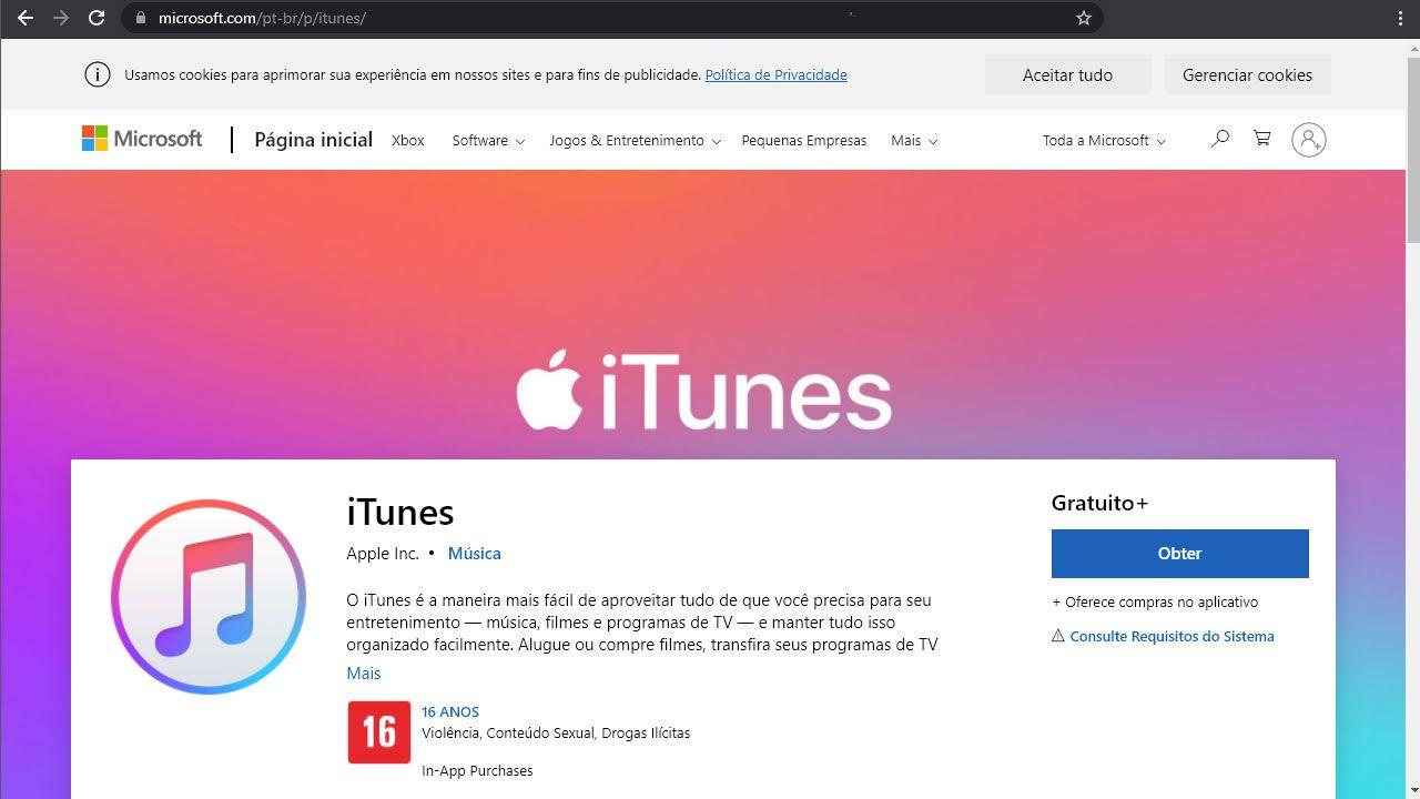 Baixe o app do iTunes em seu PC através da Windows Store (Reprodução: Redação Zoom)