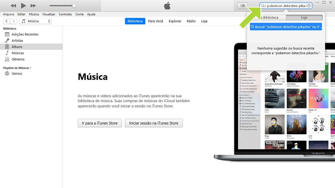 Procure pela música ou álbum que deseja baixar na loja do iTunes (Reprodução: Redação Zoom)