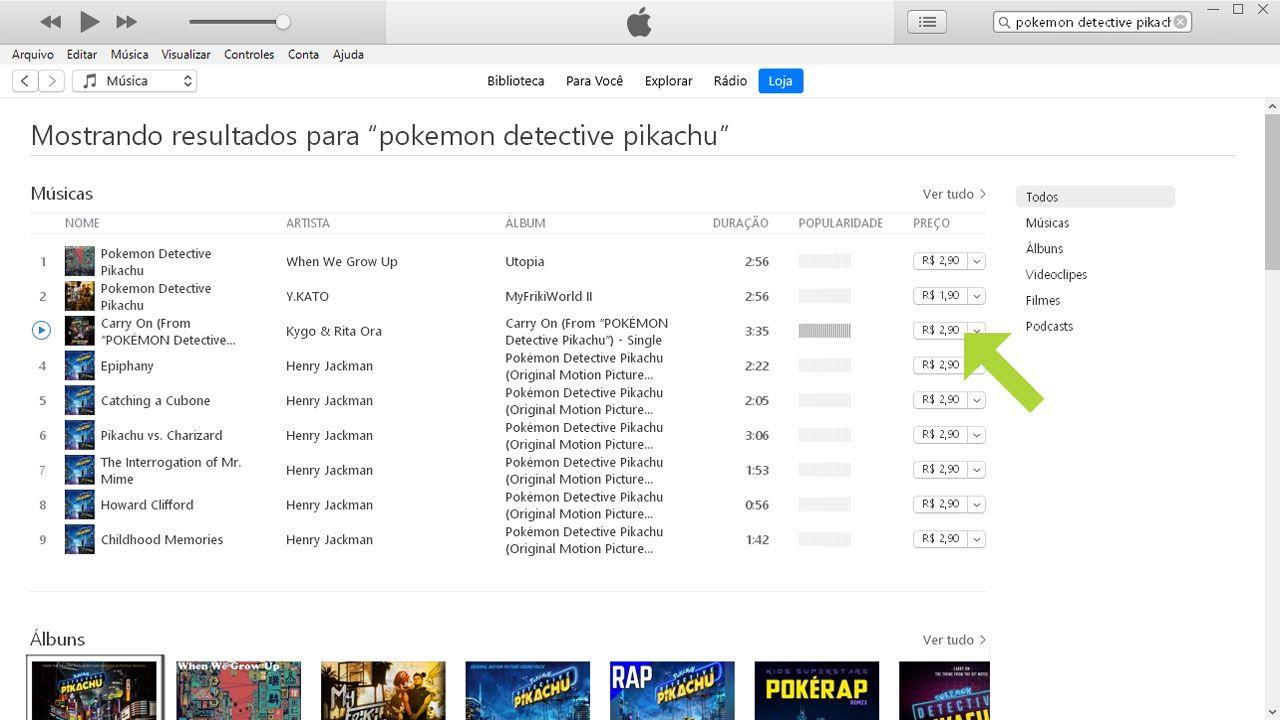 Clique no preço da música no iTunes para comprá-la e poder fazer download (Reprodução: Redação Zoom)
