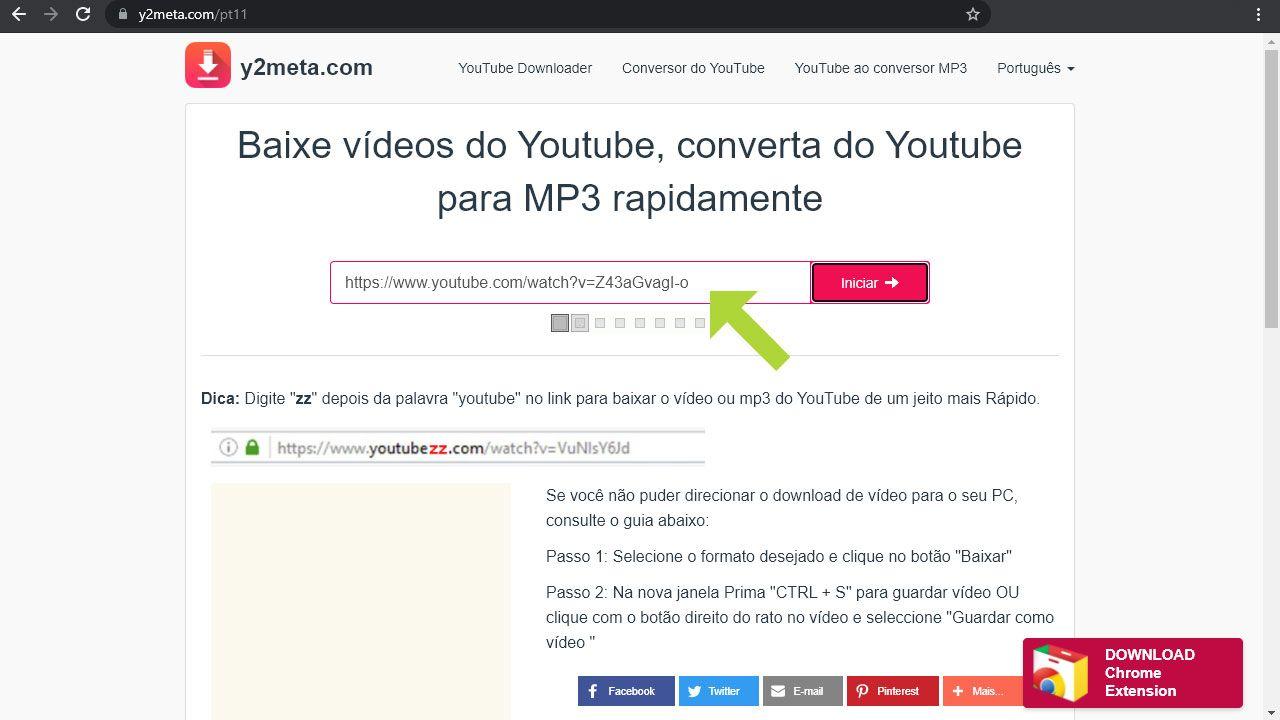 """Coloque o endereço do vídeo do YouTube no site e clique em """"Download"""" ou """"iniciar"""" (Reprodução: Redação Zoom)"""