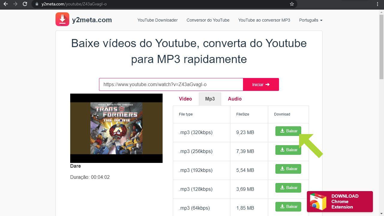 Após colocar o endereço do vídeo o site oferecerá as opções de download em formato MP3 da música (Reprodução: Redação Zoom)