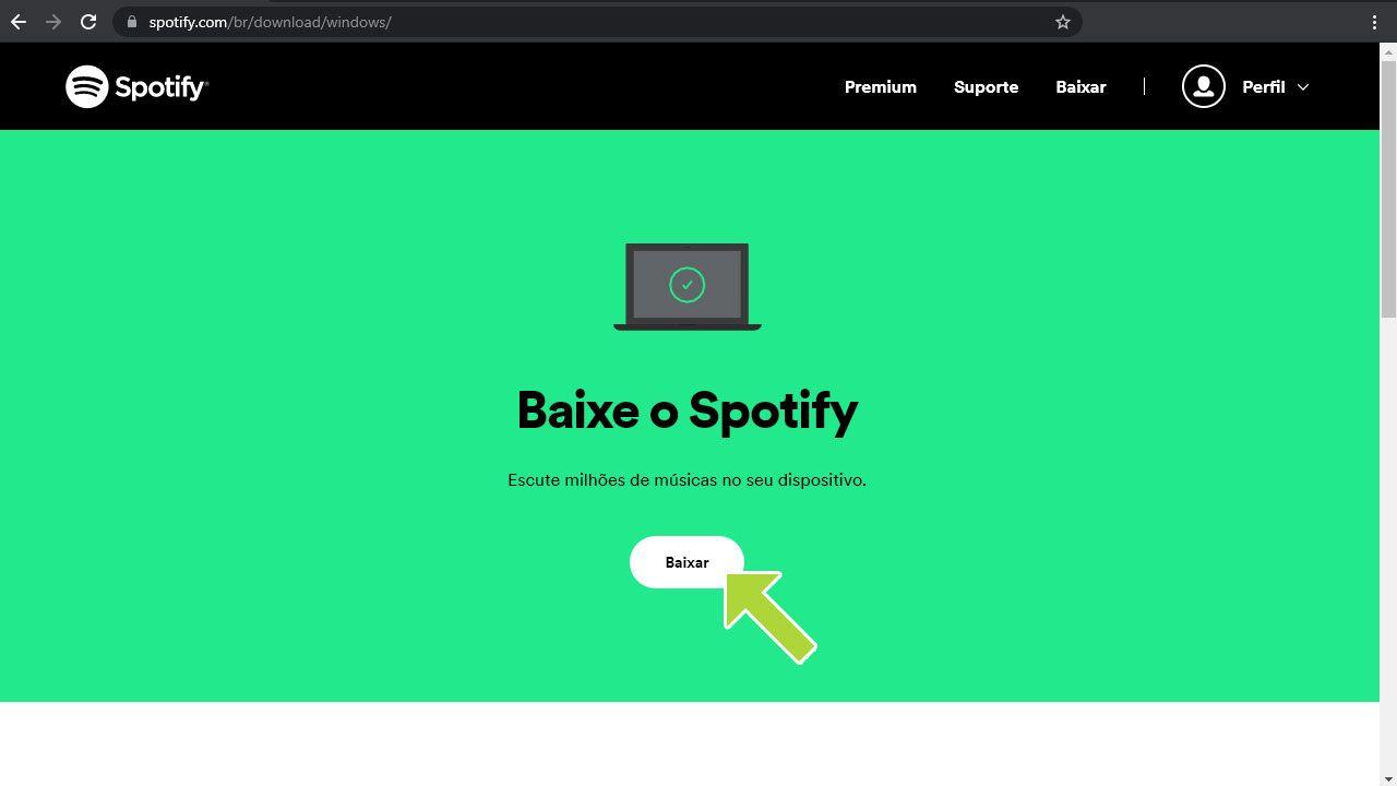 Baixe o aplicativo do Spotify em seu PC através do site oficial ou da Windows Store (Reprodução: Redação Zoom)