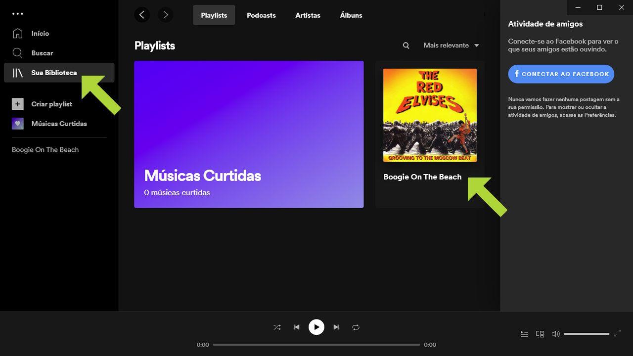 """No app do Spotify selecione """"Sua Biblioteca"""" e a música ou álbum que deseja baixar (Reprodução: Redação Zoom)"""