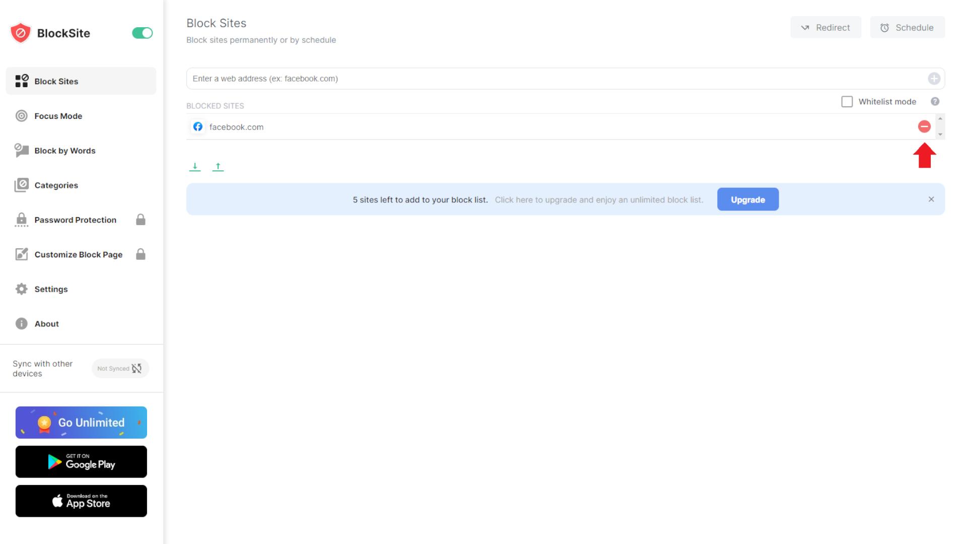 Ao tirar o site da lista, você desbloqueia o site novamente (Foto: Reprodução/Zoom)