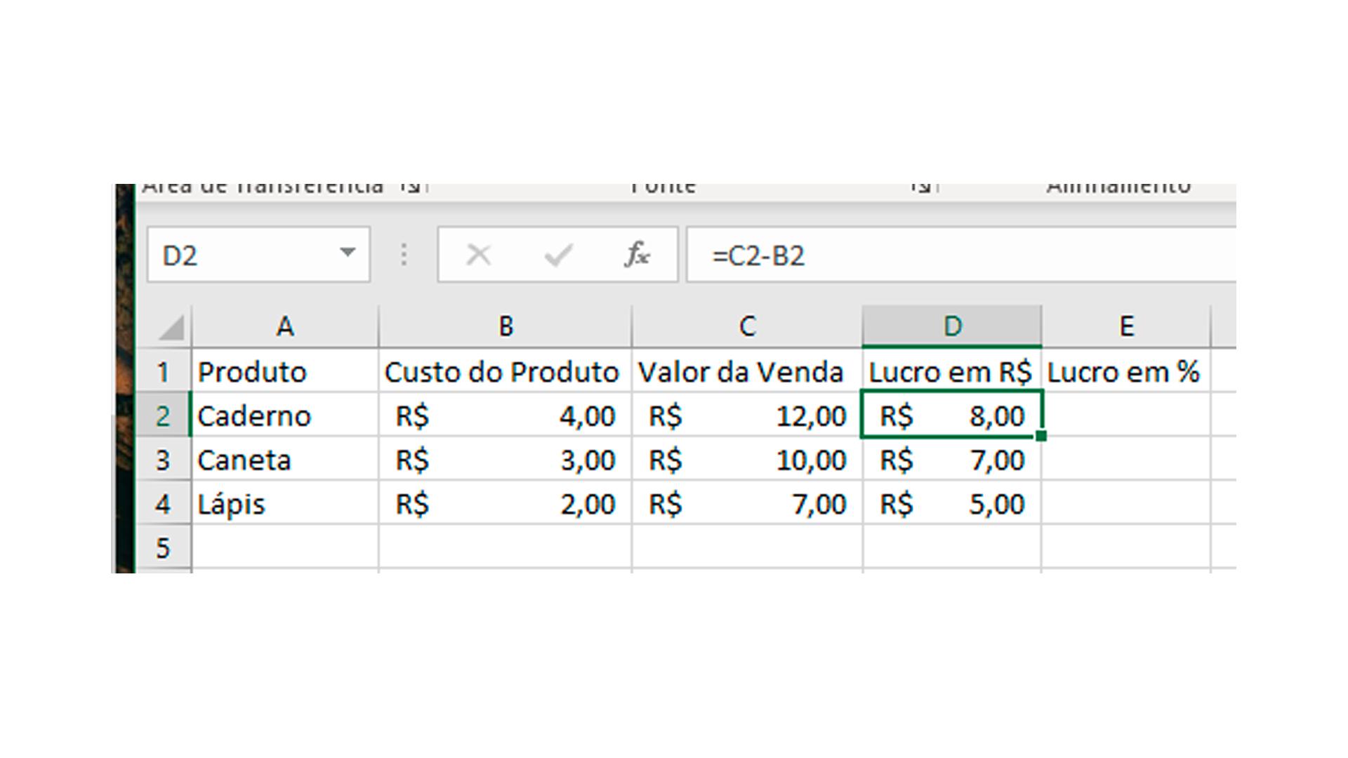 Observe a tabela para calcular porcentagem de lucro no Excel (Foto/Hugo Iwaasa)
