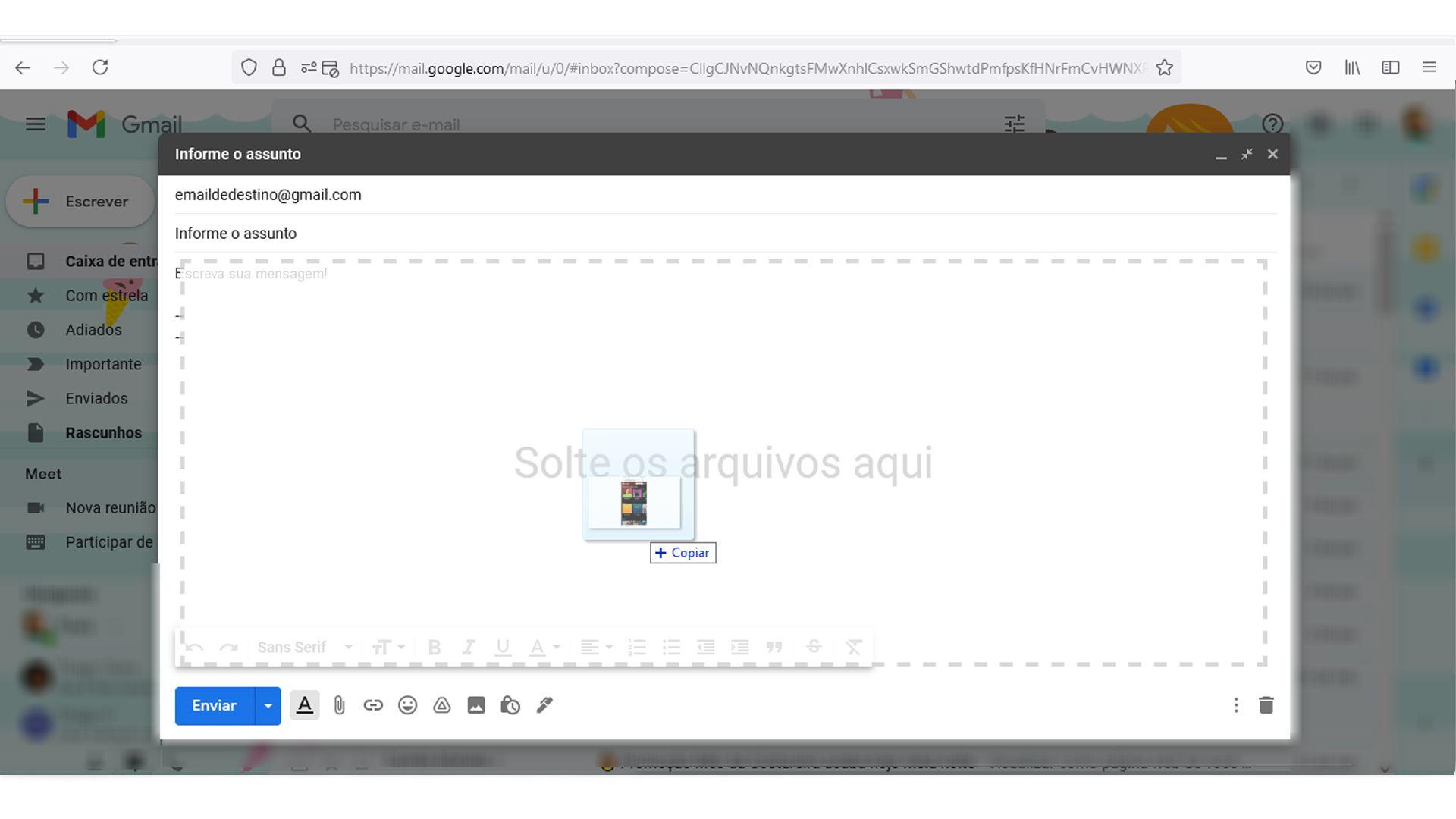 Selecione uma imagem do seu dispositivo ou arraste para o corpo do e-mail (Fonte: Reprodução)