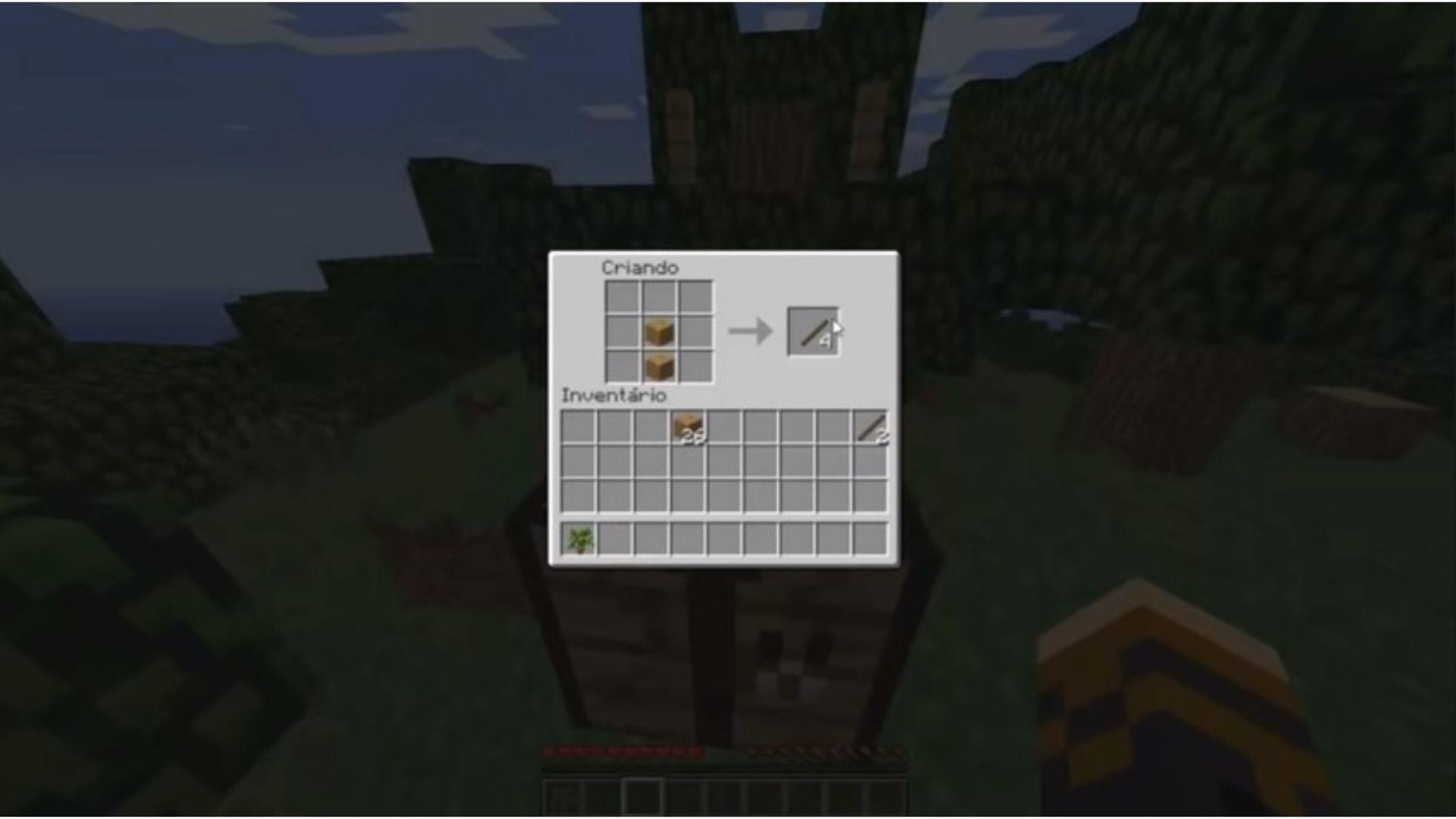 Transforme os blocos de madeira em gravetos para criar as cercas no jogo (Foto: Reprodução/Youtube)