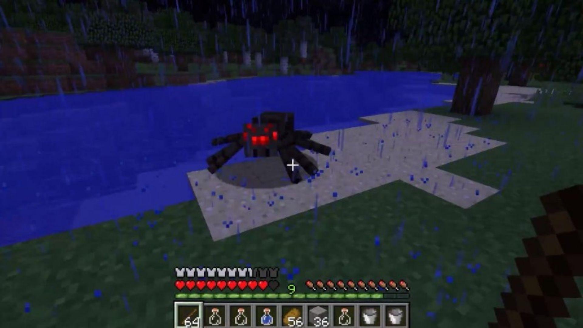 Para iniciar o processo de como fazer corda no Minecraft, é preciso adquirir fios matando algumas aranhas (Foto: Reprodução/Youtube)