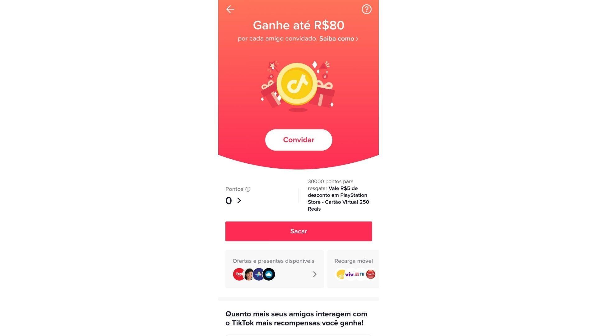 TikTok dá recompensa para quem indica o app para amigos (Reprodução/TikTok)