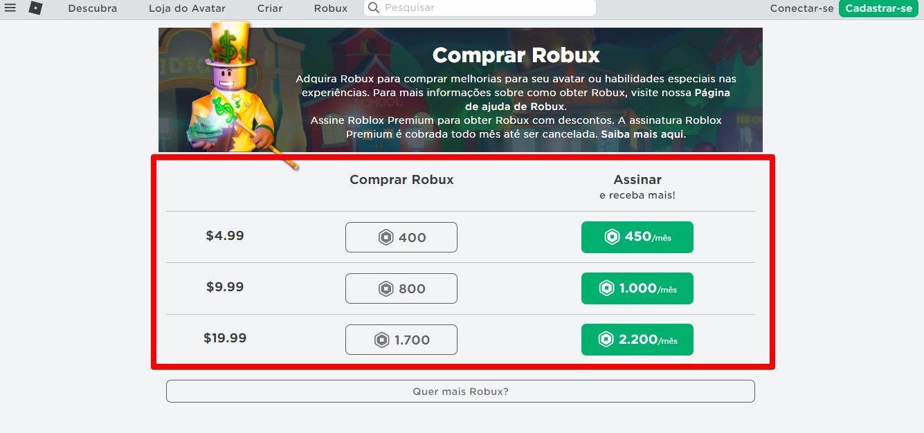 Você pode comprar Robux direto do site do game (Fonte: Reprodução/Roblox)