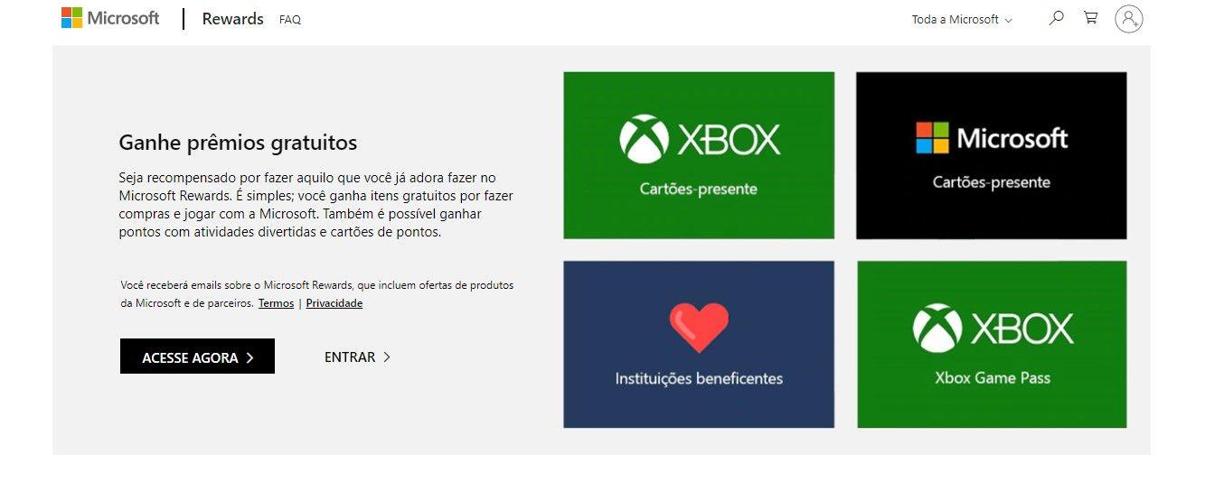 Você pode trocar pontos no Microsoft Rewards por cartões-presente Xbox, que podem ser usados para comprar Robux na versão do jogo para consoles da marca (Reprodução/Microsoft)