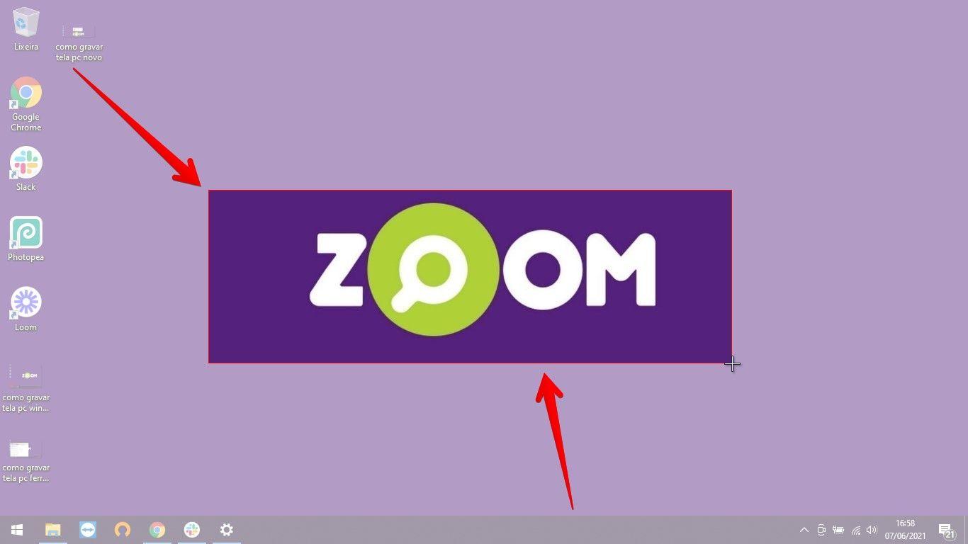 A parte colorida da imagem é a área que arrastamos com o mouse e selecionamos para capturar (Fonte: Reprodução/Zoom)