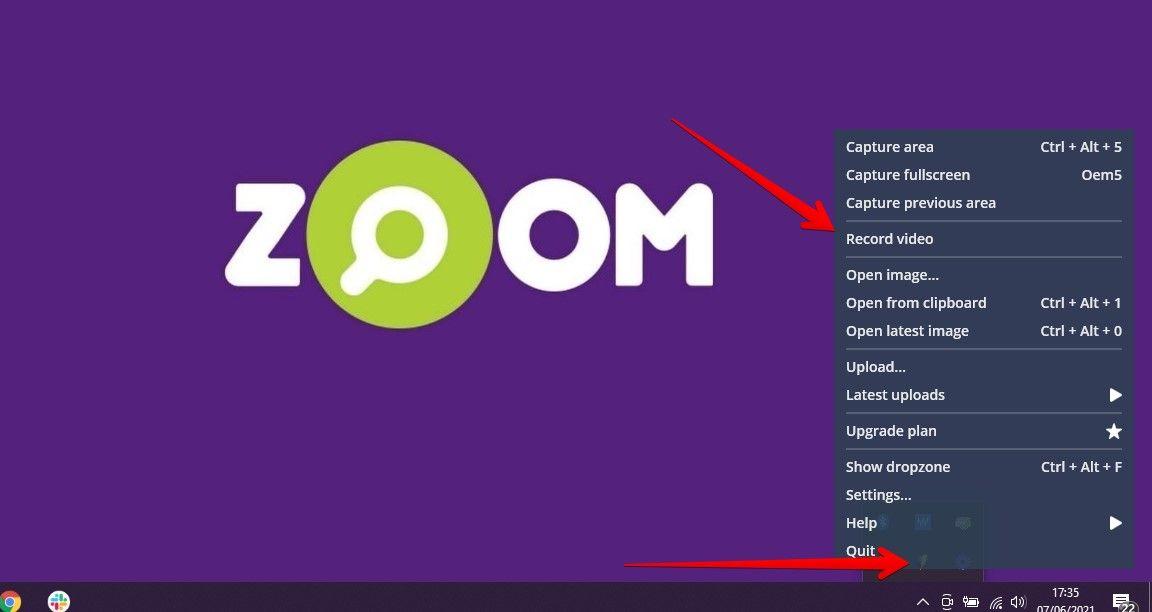 """Clique no ícone do Monosnap na bandeja da parte inferior direita e escolha """"Record Video"""" para começar a gravar tela do PC (Fonte: Reprodução/Zoom)"""
