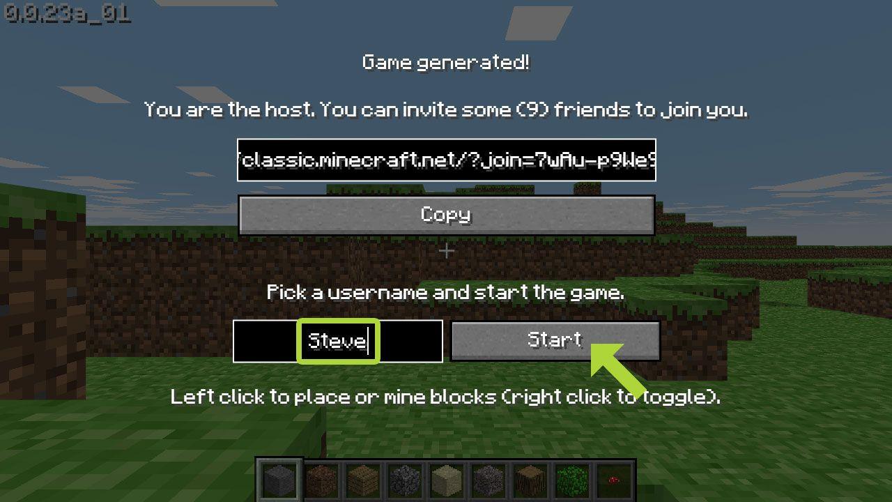 Coloque um nome e clique em Start para ter como jogar Minecraft Classic Edition (Reprodução: Redação Zoom)