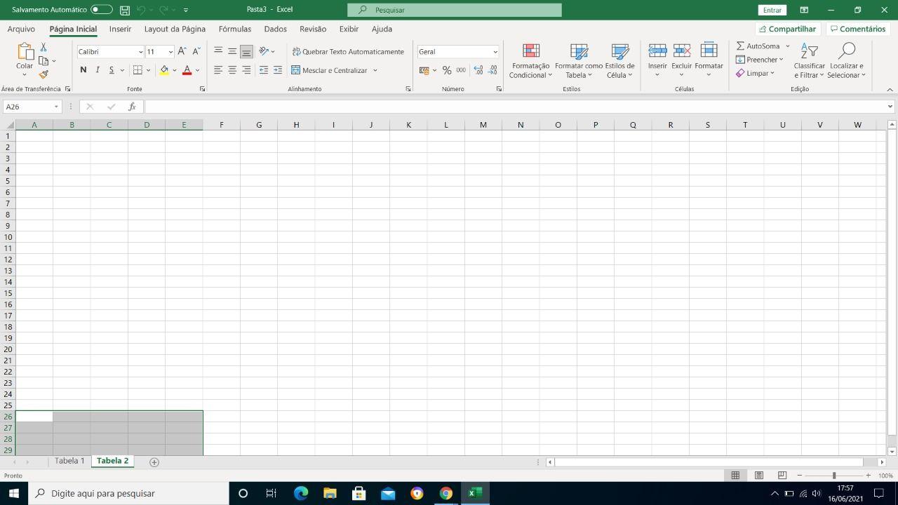 como fazer planilha no Excel nova aba