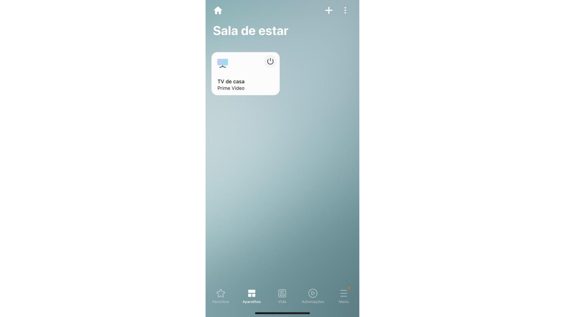Essa é a tela inicial do Samsung SmartThings, onde estão os dispositivos cadastrados. (Imagem: Captura de tela/Zoom)