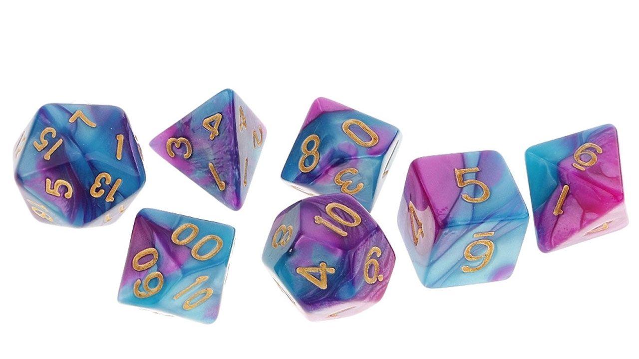 Um conjunto básico de 7 peças com dados poliédricos é perfeito para começar a jogar RPG sem gastar muito (Reprodução: Americanas)