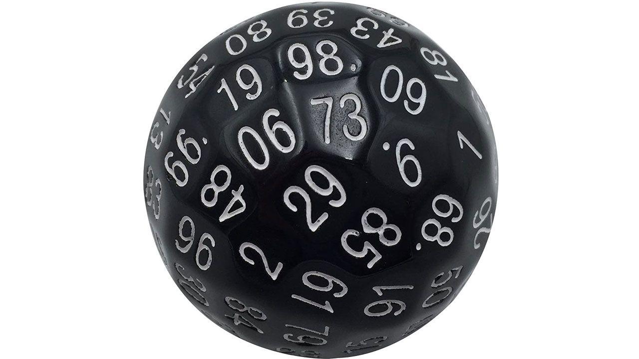 O dado de 100 faces, ou D100, também é pouco usado no RPG, mas seu uso costuma acontecer em eventos mais interessantes (Reprodução: Amazon)