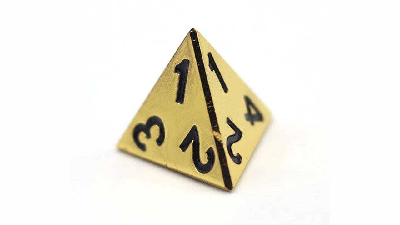 O D4 é um dado pouco usado e bastante curioso, pois seu resultado fica na ponta da pirâmide, 1 nesse caso (Reprodução: Custom Game Dice)