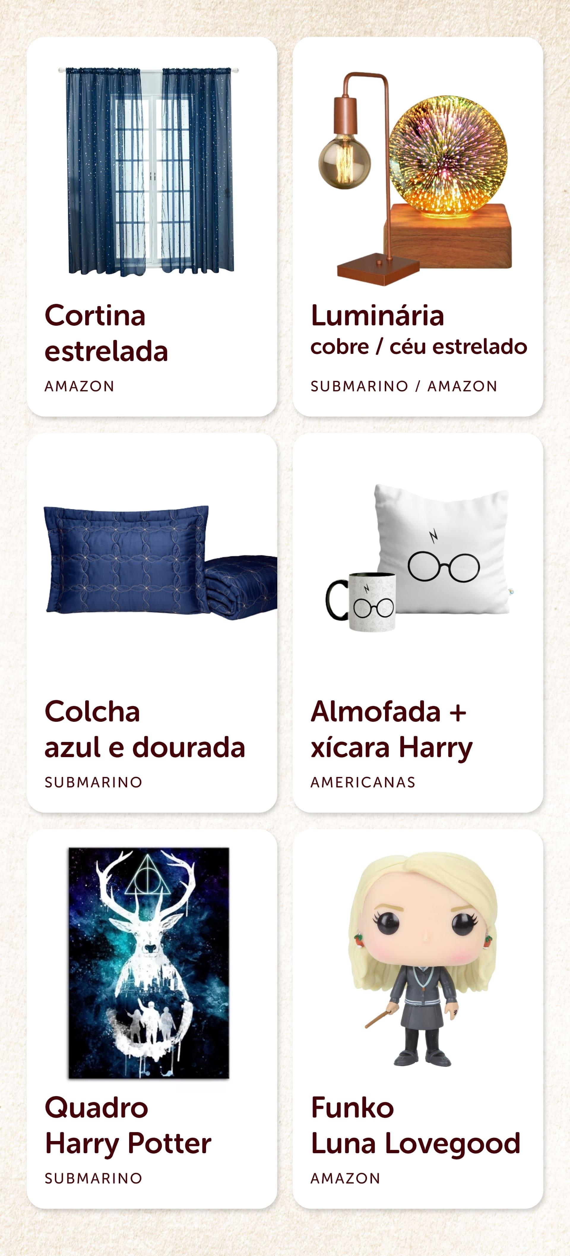 Produtos recomendados para o quarto Harry Potter da Corvinal