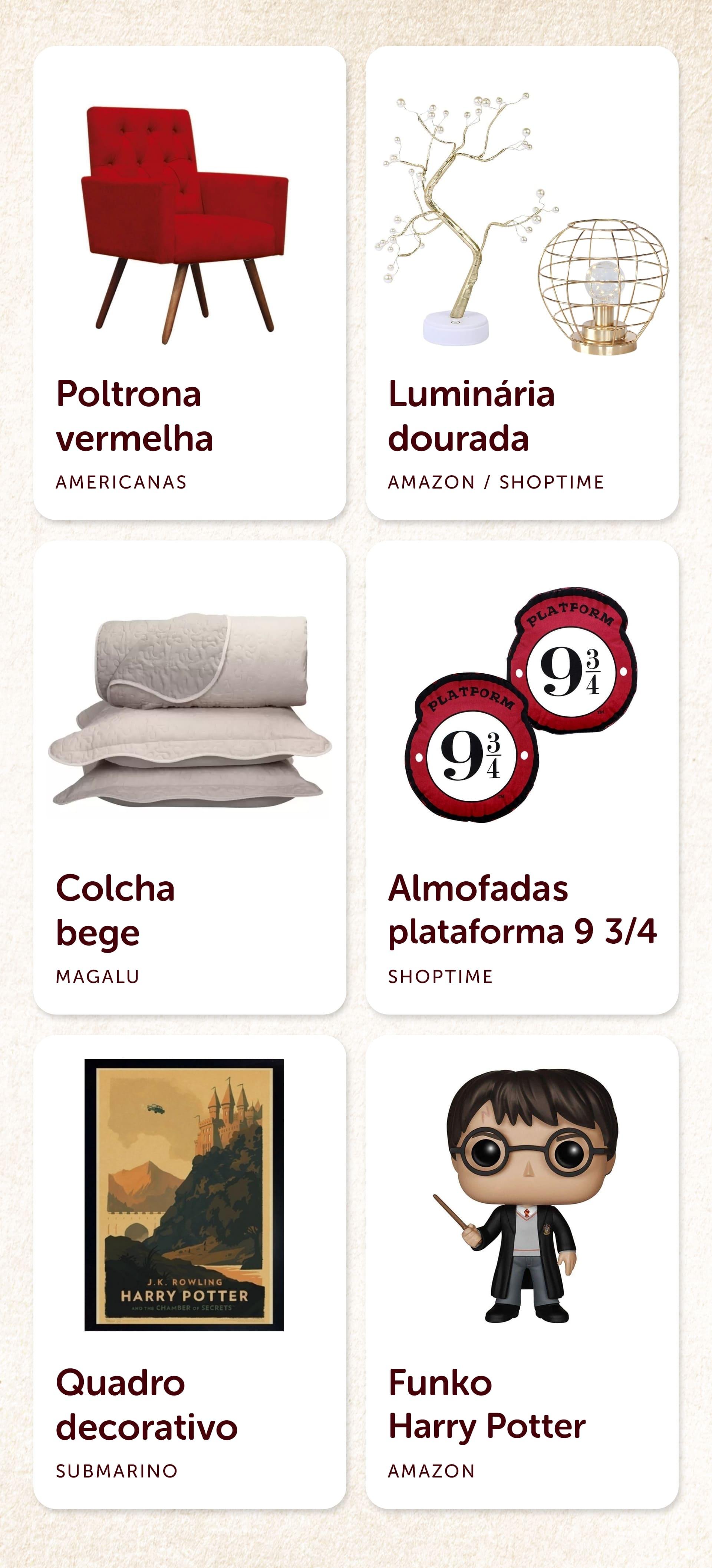 Produtos recomendados para o quarto Harry Potter da Grifinória