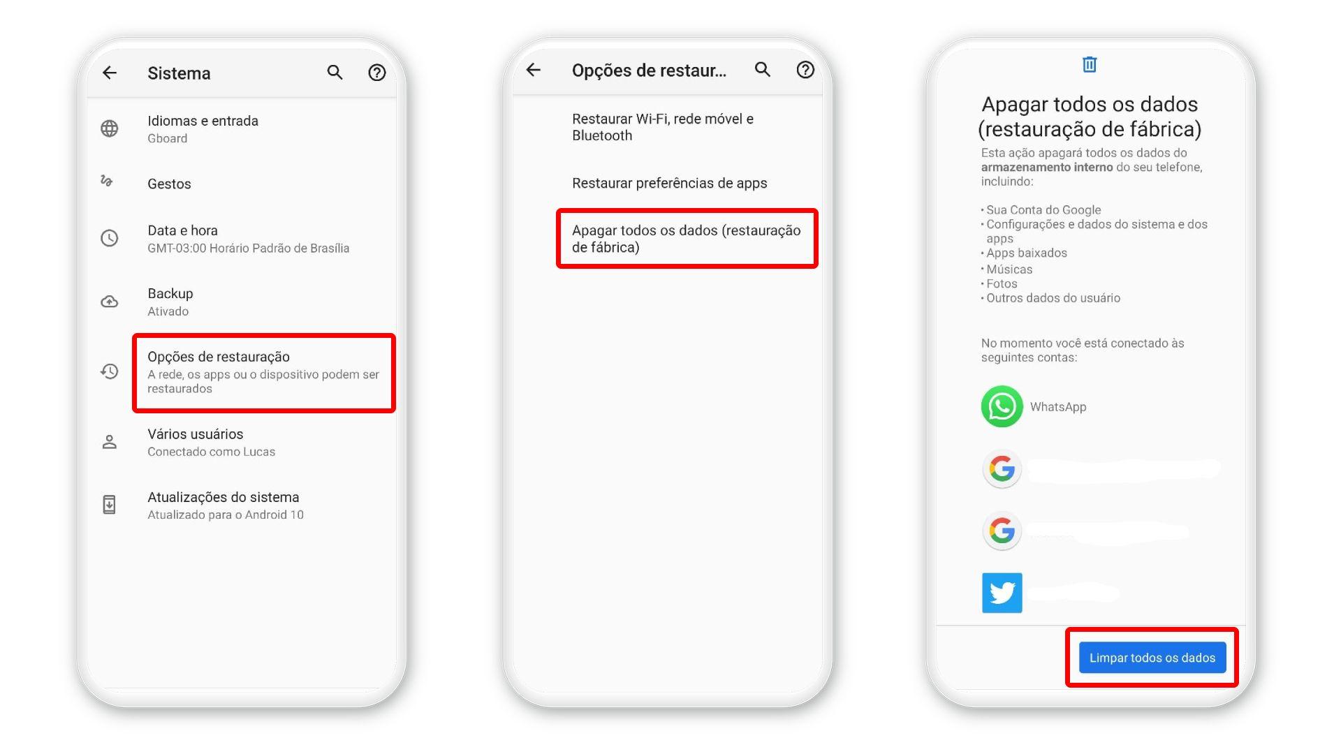 """Como formatar o celular Android: selecione """"Limpar todos os dados"""" (Foto: Arte/Zoom)"""