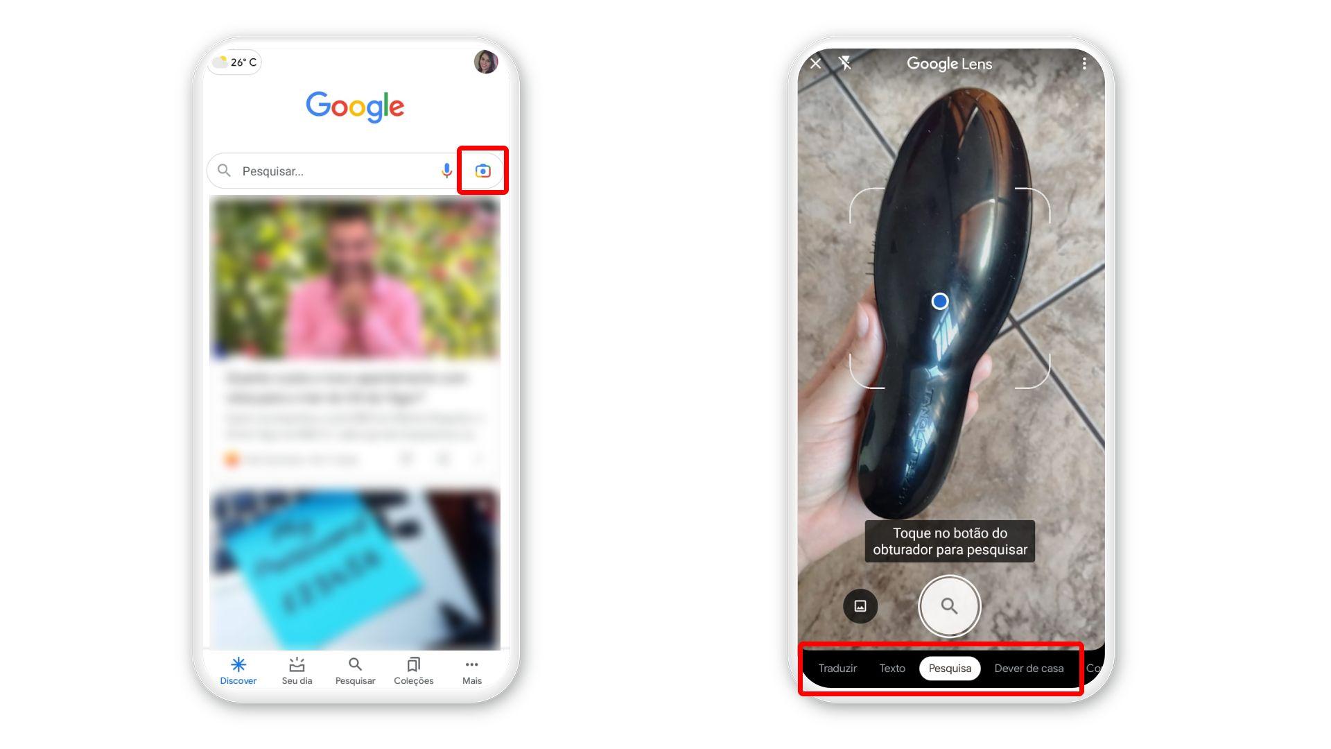 Google Lens pode ser acessado direto no app do Google(Foto: Arte/Zoom)