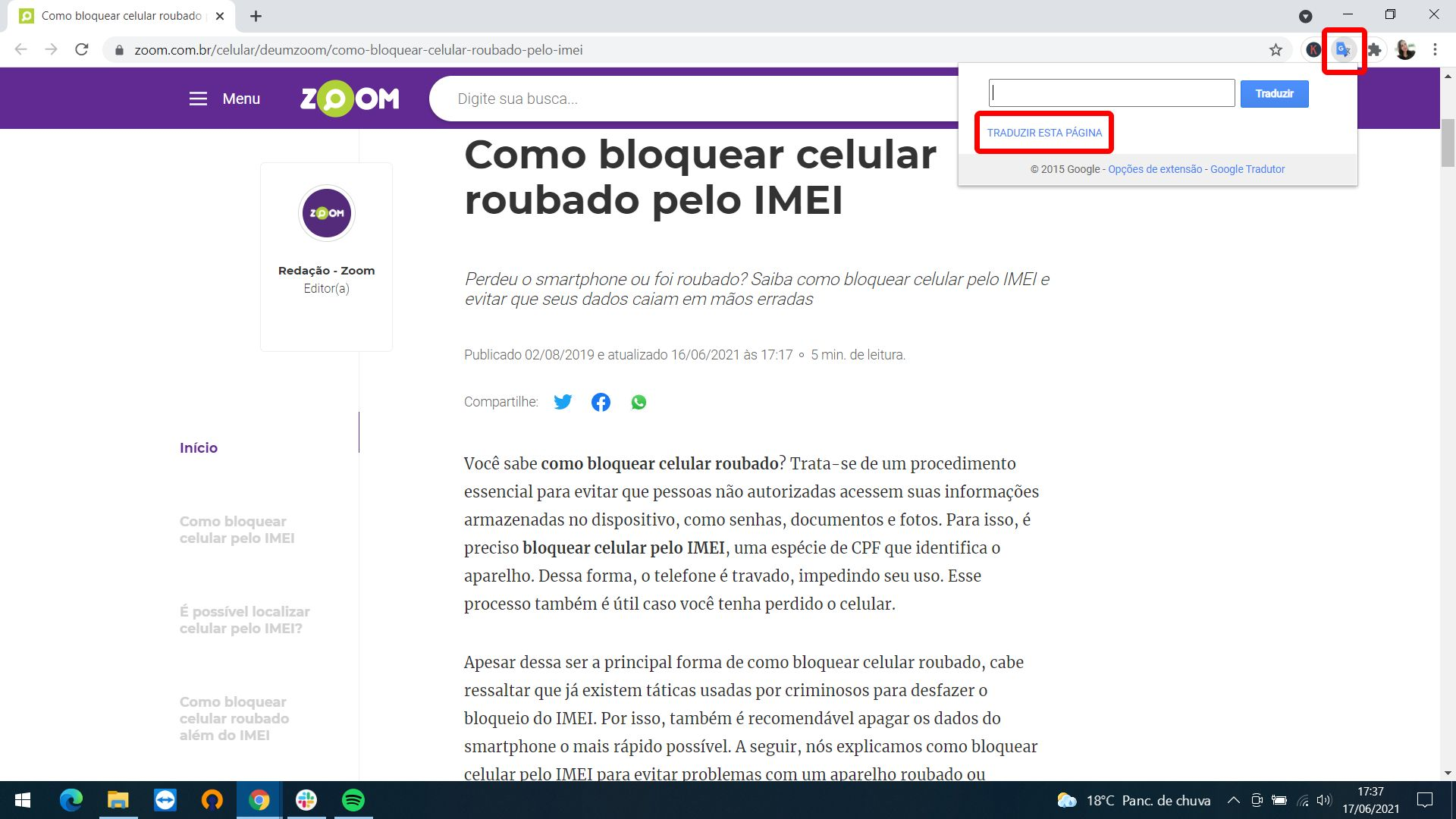 Extensão do Google Tradutor permite traduzir qualquer site (Foto: Arte/Zoom)