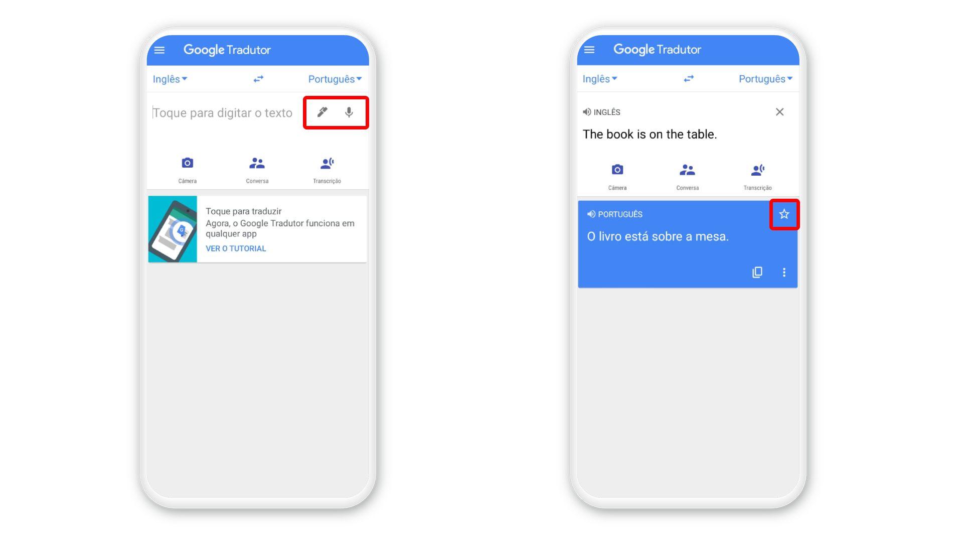 Basta definir idiomas e digitar frase no app do Google Tradutor para receber a tradução (Foto: Arte/Zoom)
