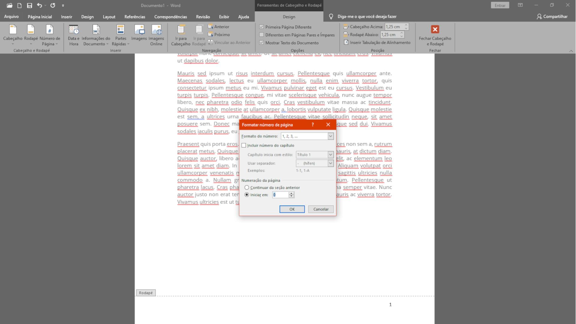Aba de ferramentas de cabeçalho e rodapé tem configurações do número da página (Foto: Reprodução/Zoom)