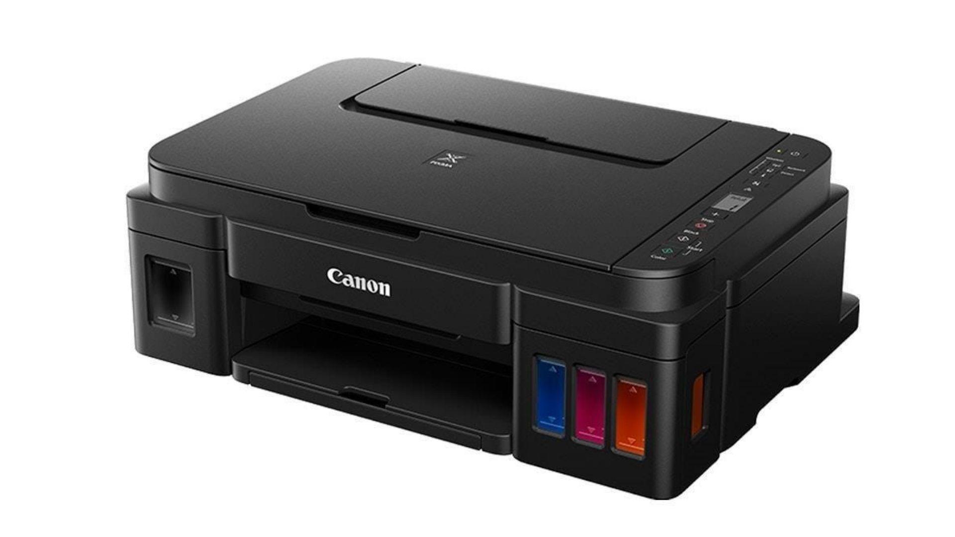A impressora Canon G3111 imprime em colorido com qualidade de 4800x1200dpi em preto 600x600dpi.