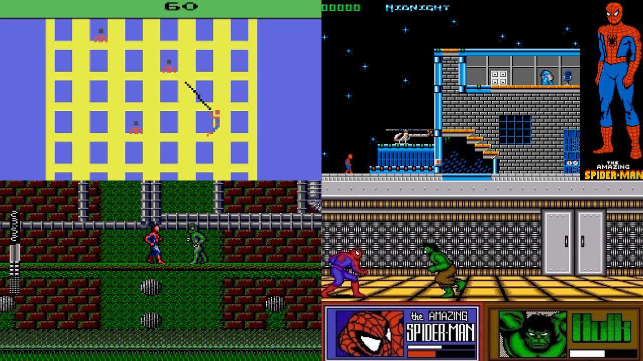 Os jogos do Homem-Aranha passaram por vários obstáculos no passado, mas atualmente são alguns dos melhores jogos de ação (Reprodução: Old School Gamer Magazine, ClassicReload, GameFabrique e Alchetron)