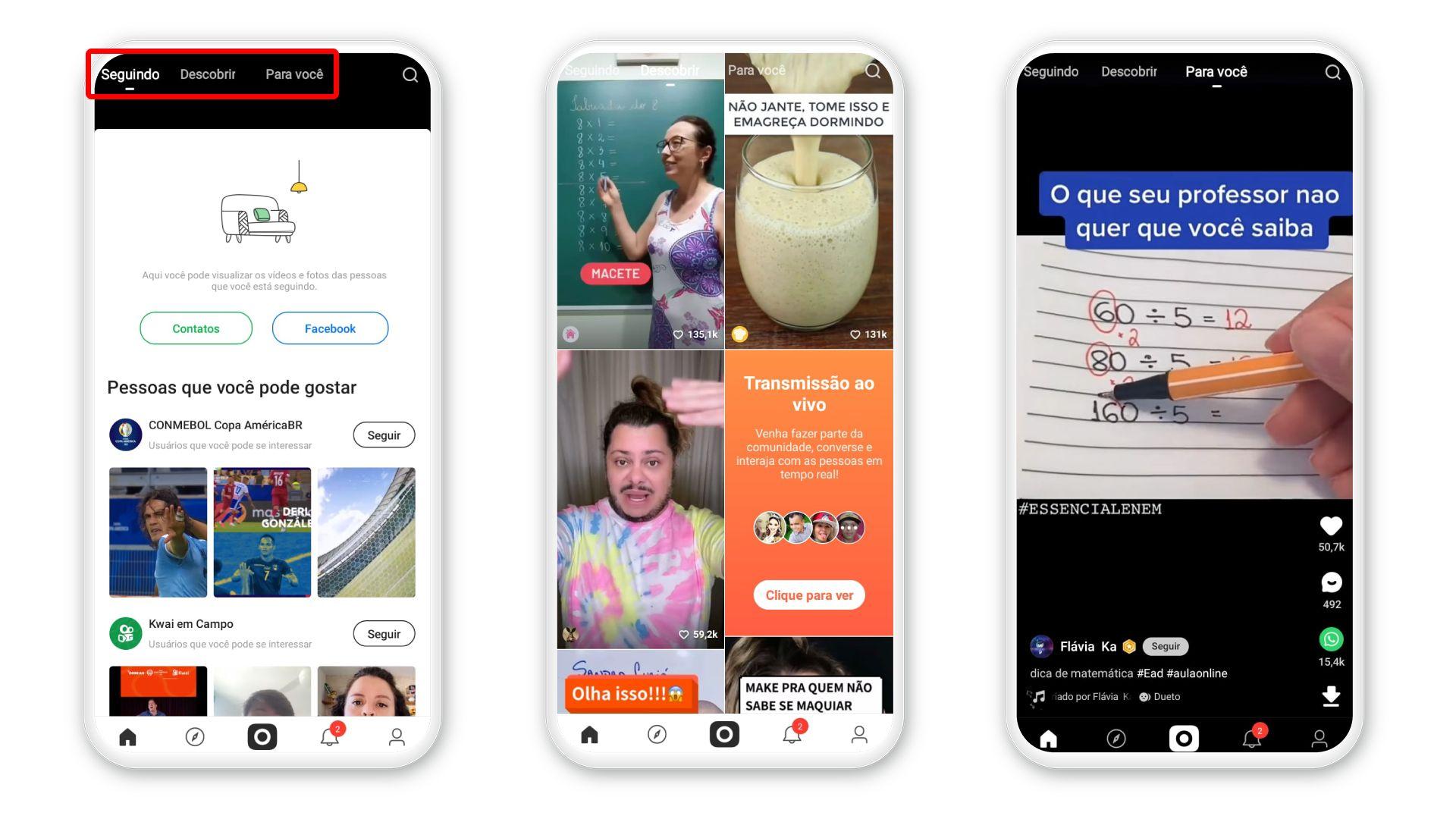 Kwai mostra vídeos de pessoas que você segue, mas também tem conteúdo recomendado (Foto: Arte/Zoom)