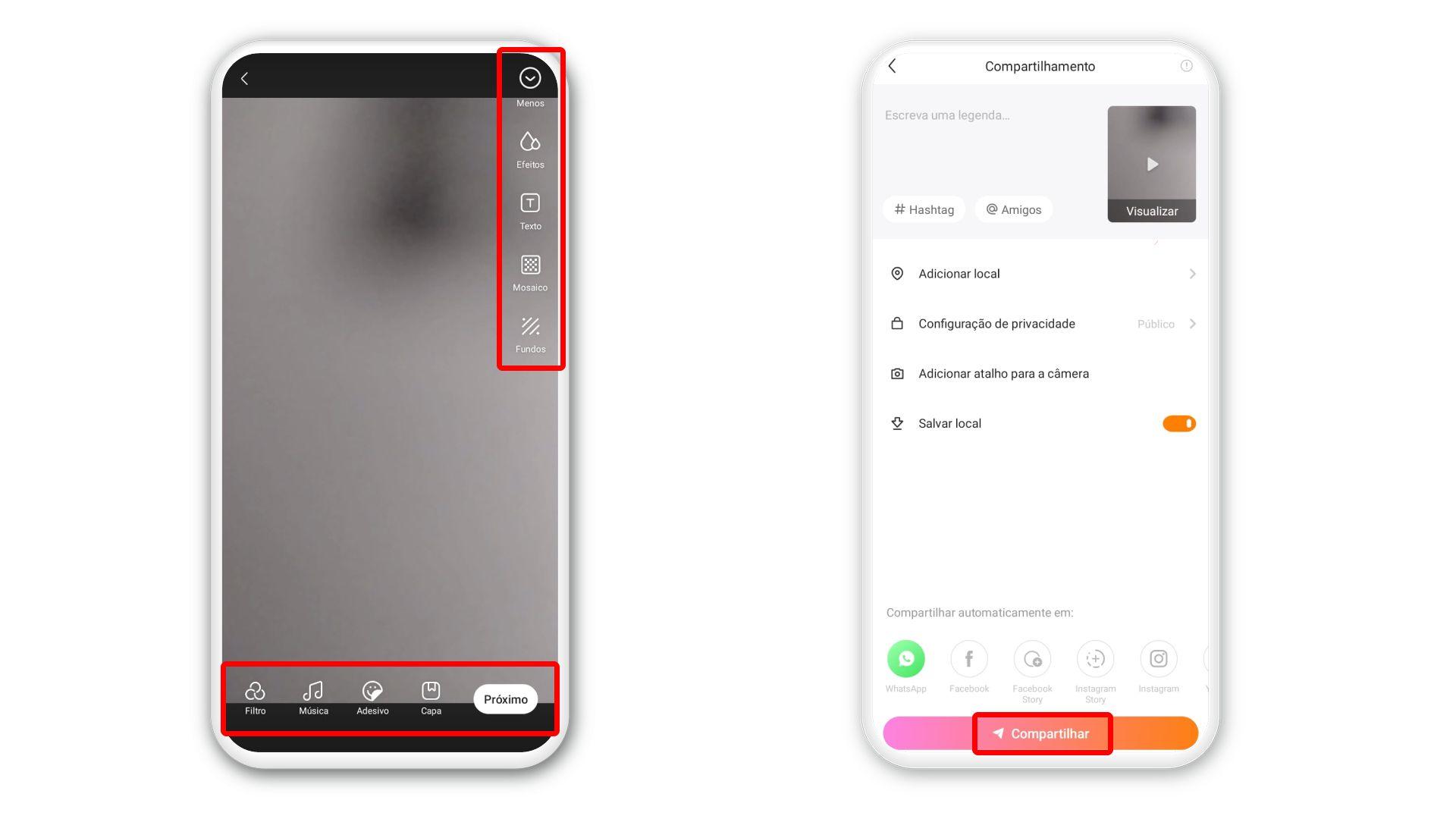 É possível adicionar localização, hashtags e marcar amigos antes de compartilhar vídeo no Kwai (Foto: Arte/Zoom)