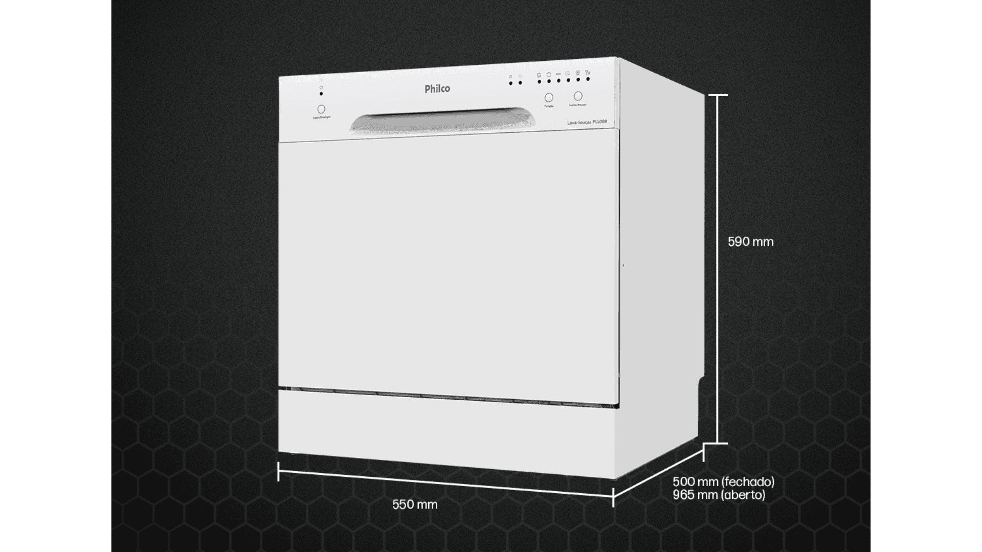 O design da Philco 8 Serviços é simples, com abertura frontal e todo na cor branca. (Imagem: Divulgação/Philco)