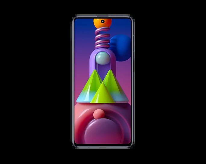 Galaxy M51, um celular da linha Samsung Galaxy M, de frente com a tela acessa, em um fundo branco