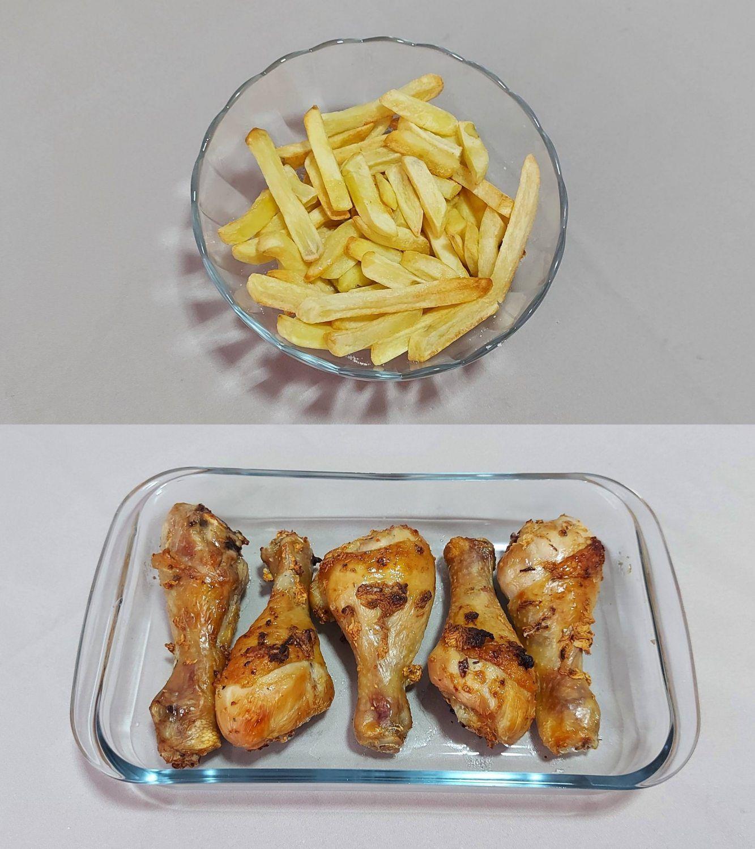 O resultado dos alimentos preparados na Air Fryer Oven Philco é satisfatório, mas com mais tempo do que o previsto pela marca (Foto: Ariel Cristina Borges)