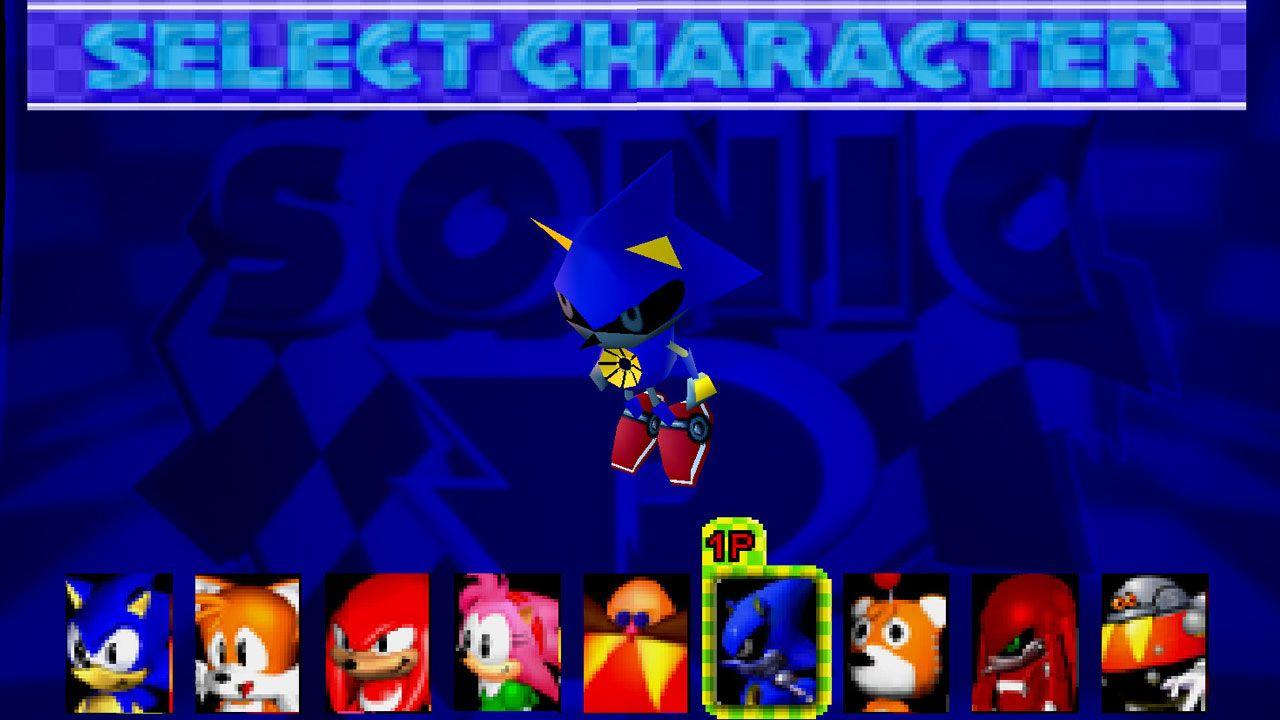 Metal Sonic aparecia jogável em raras ocasiões, como no jogo do Sonic de corrida Sonic R para Sega Saturn (Reprodução: GameBanana)