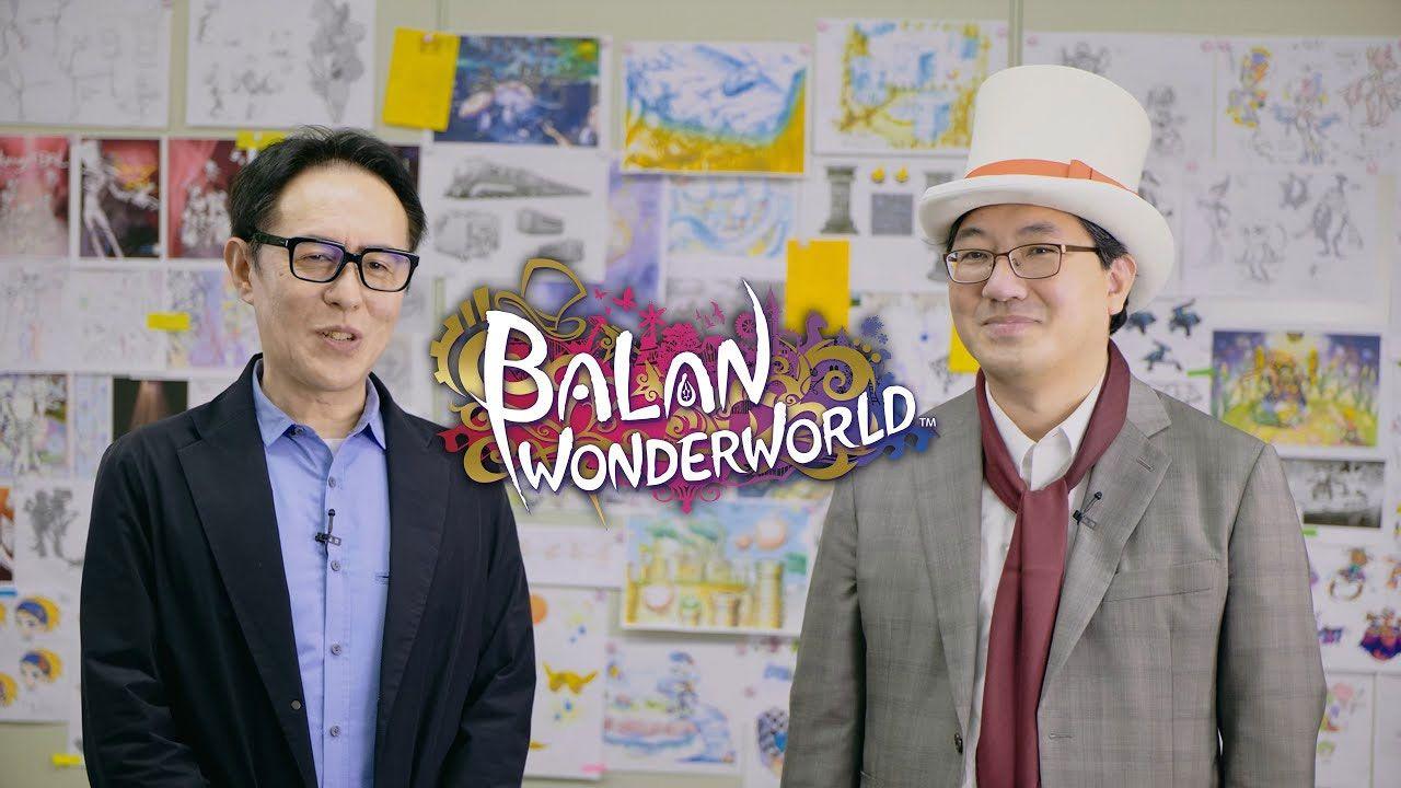 Naoto Ohshima (esquerda) e Yuji Naka (direita) no último projeto que trabalharam juntos, Balan Wonderworld (Reprodução: Square Enix)