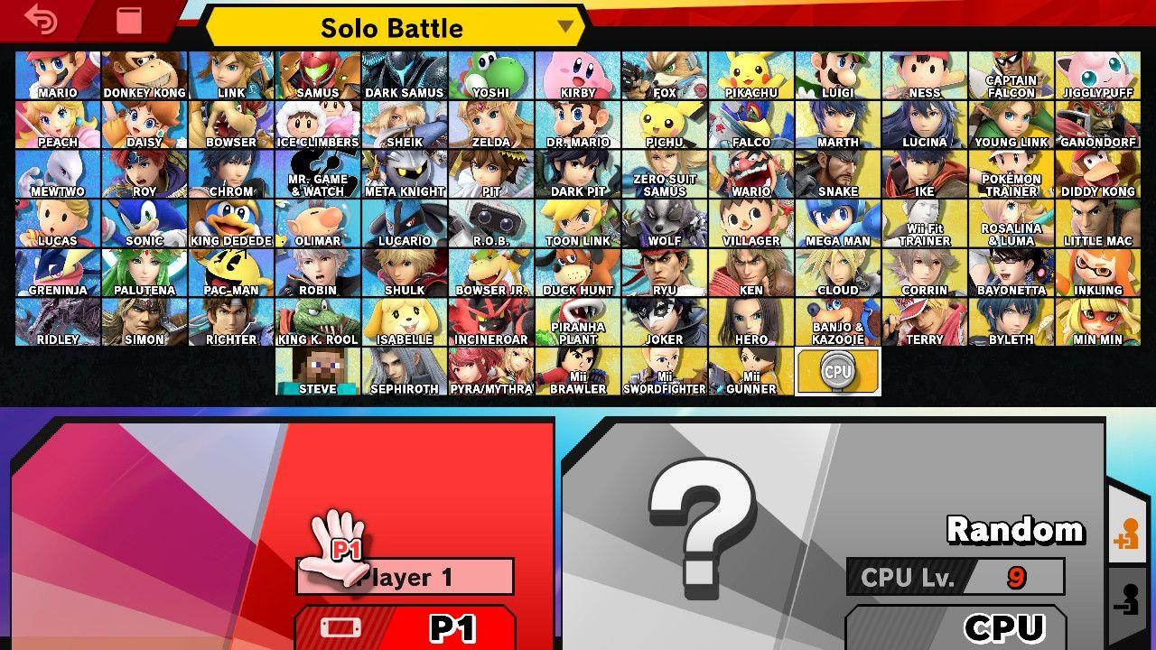Não faltam personagens para escolher na edição definitiva do game de luta da Nintendo (Fonte: Reprodução/Smash Wiki)