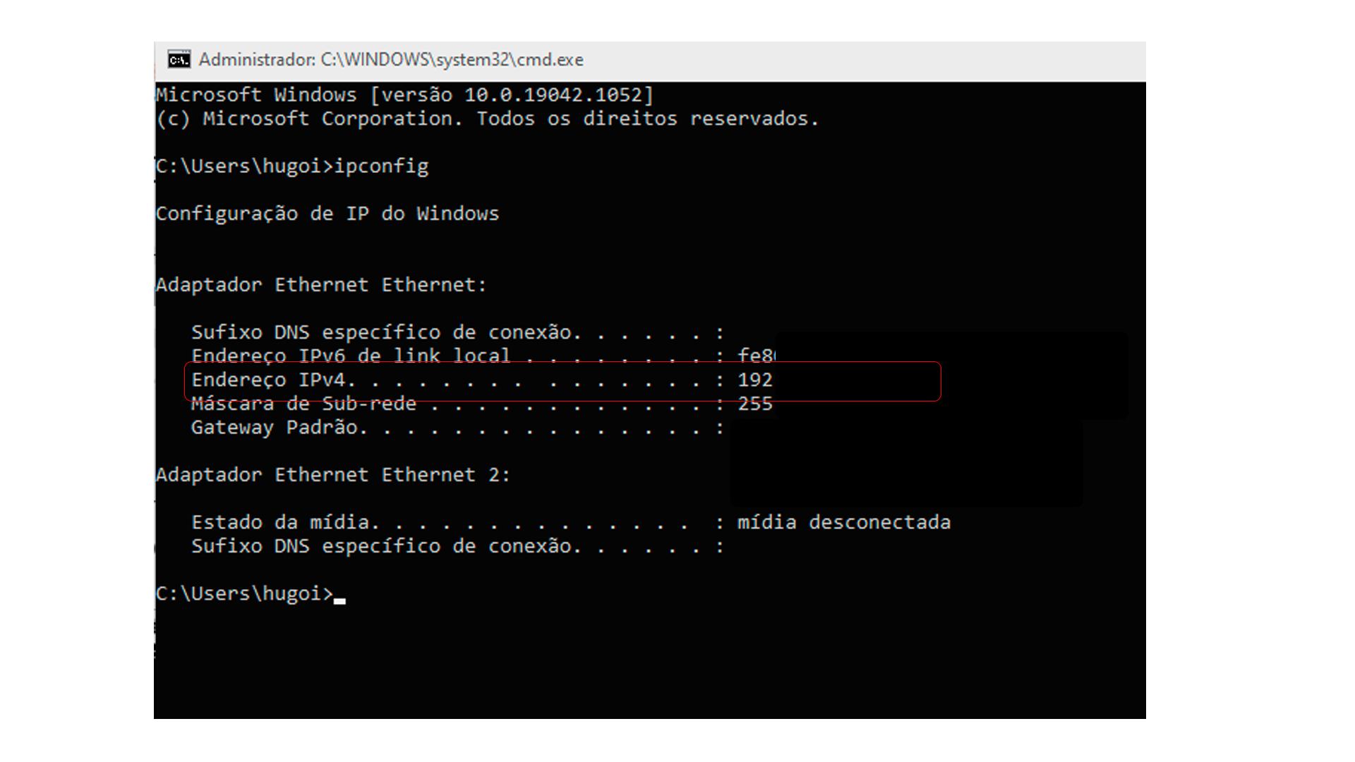 """O """"Endereço de IPv4"""" é o seu endereço de IP interno (Foto/Hugo Iwaasa)"""