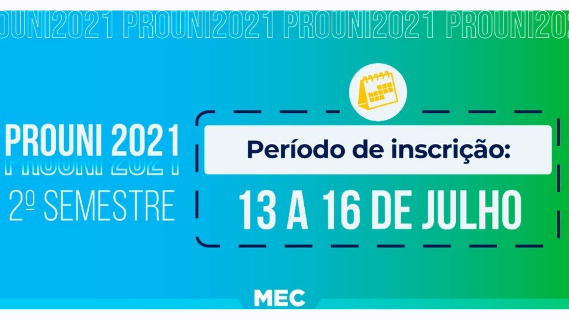 O segundo semestre terá uma nova rodada para inscrições ProUni 2021 (Fonte: Divulgação/MEC)