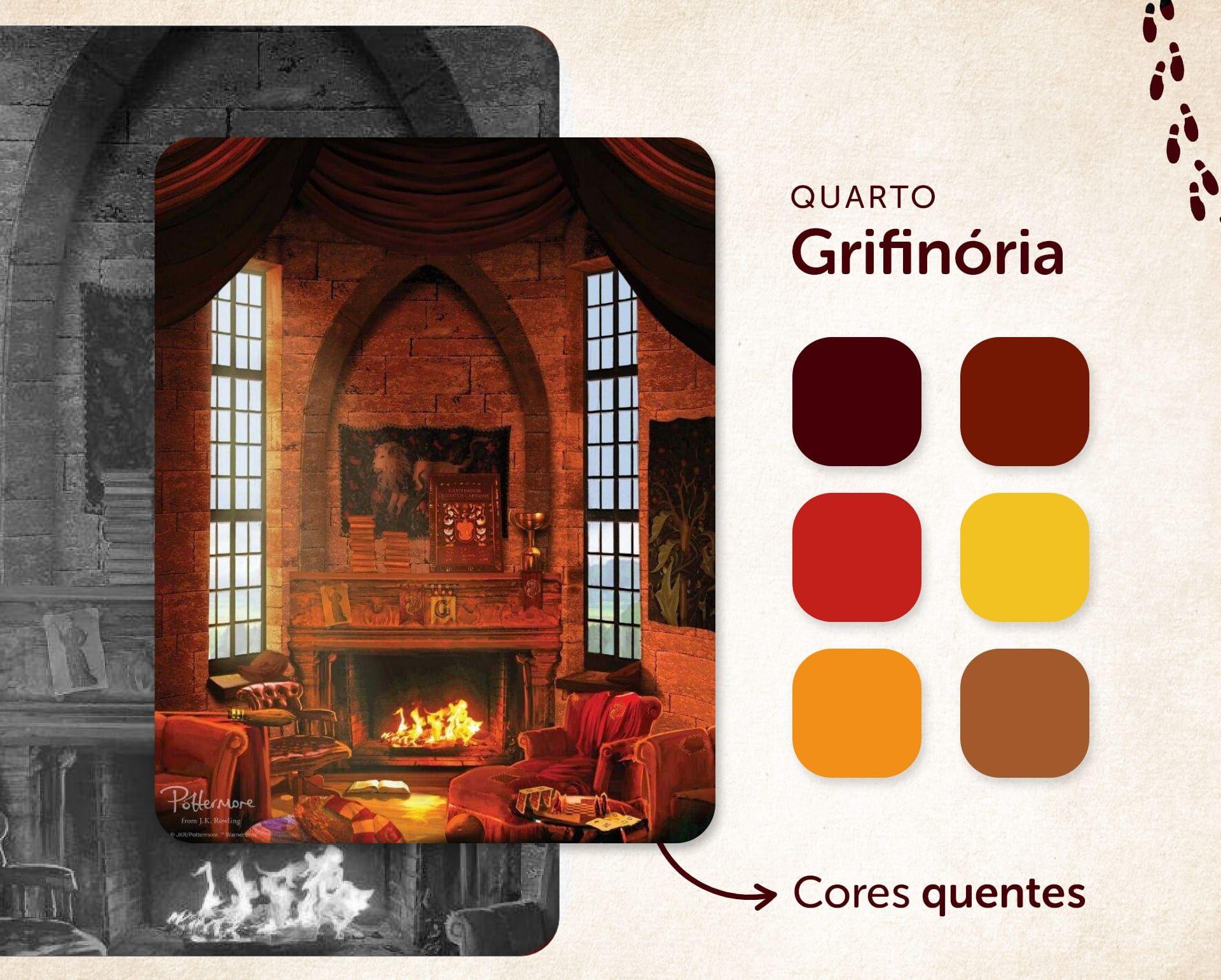 No quarto Harry Potter da Grifinória, as cores vermelho e amarelo se destacam (Ilustração: Pottermore, Imagem: Isabel Marlasca/Zoom)