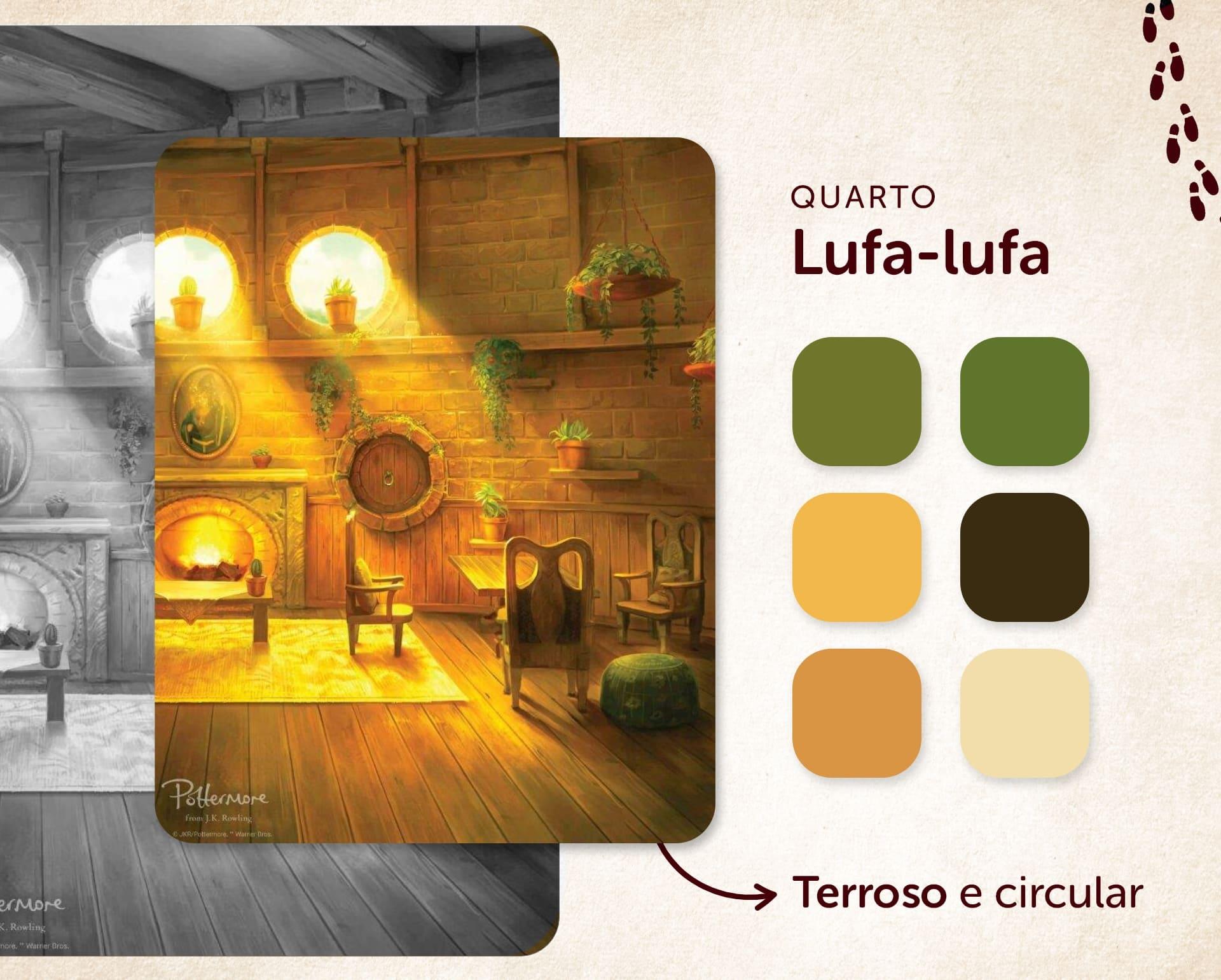 O quarto Harry Potter da Lufa-lufa tem plantas e o amarelo como destaque (Ilustração: Pottermore, Imagem: Isabel Marlasca/Zoom)