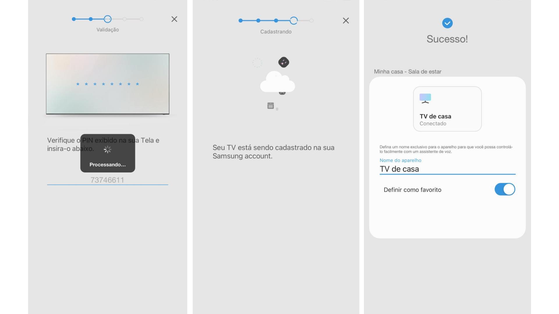 Na foto, o passo 8, a tela de carregamento e o passo 9. Pronto, tudo certo para usar o SmartThings. (Imagem: Captura de tela/Zoom)