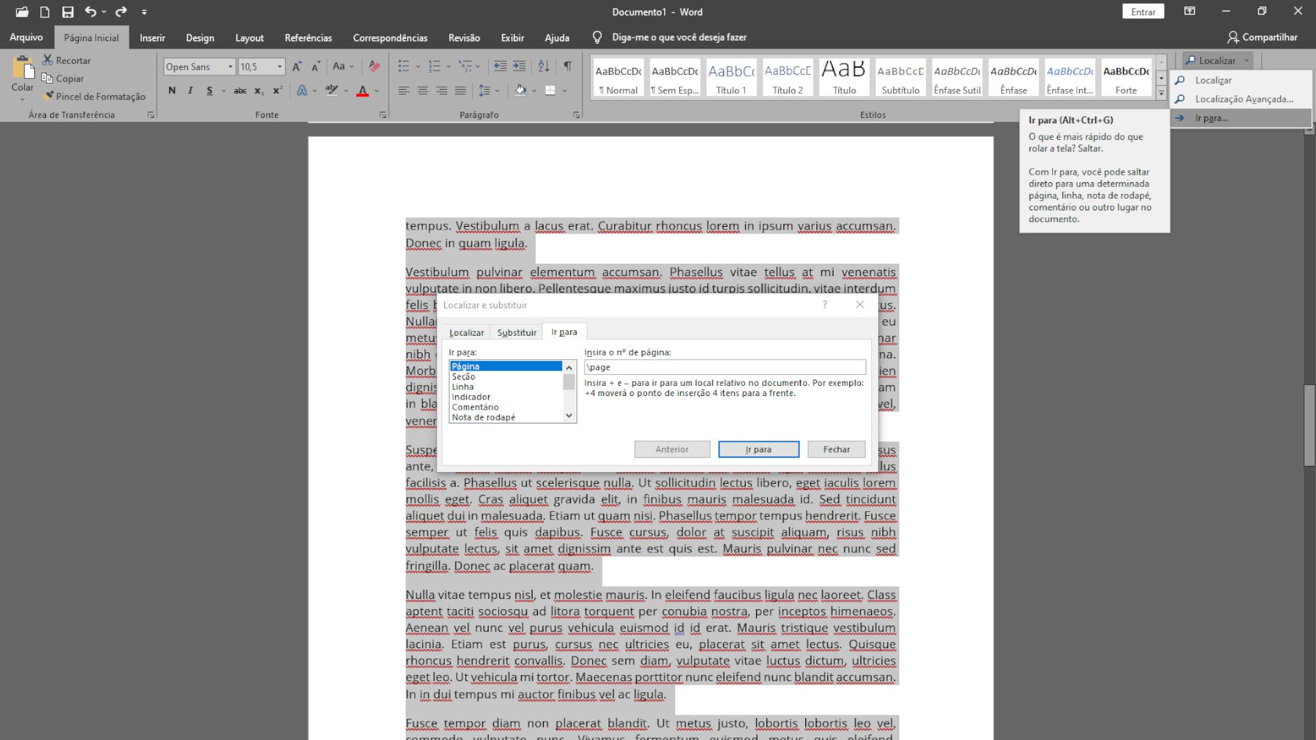 Em páginas com conteúdo, a solução é selecionar o texto dele (Foto: Reprodução/Zoom)