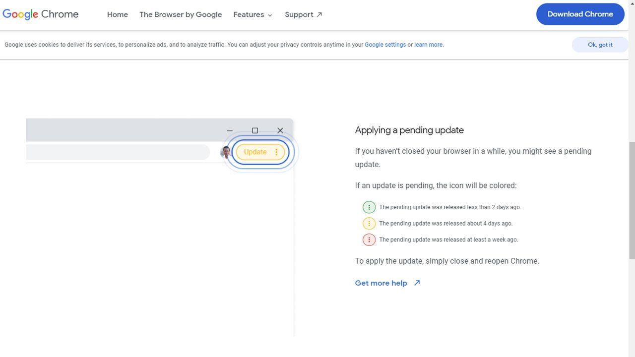 O sistema de cores indica há quanto tempo uma atualização foi lançada e quadno é recomendado reiniciar seu navegador (Reprodução: Google)